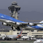 KLM Passenger Airplane Departing at Los Angeles International Airport